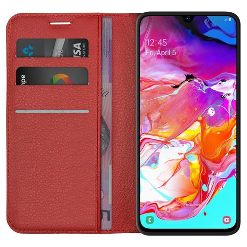 Leather Wallet Case & Card Holder Pouch for Samsung Galaxy A70 - Red